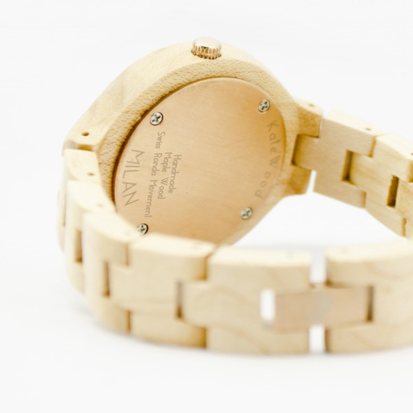 Kate-Wood-womens-wooden-watch-Milan-buy-wooden-watch-light-sandalwood-and-rose-details-at-Kate-Wood-webshop-front-white-plate-handmade-maple-wood-600×600